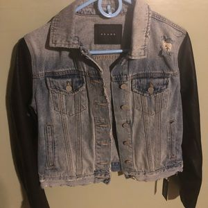 BLANKNYC Denim Jacket with faux leather sleeves